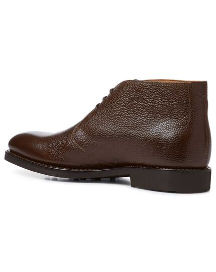 Brown Goodyear welted chukka boots