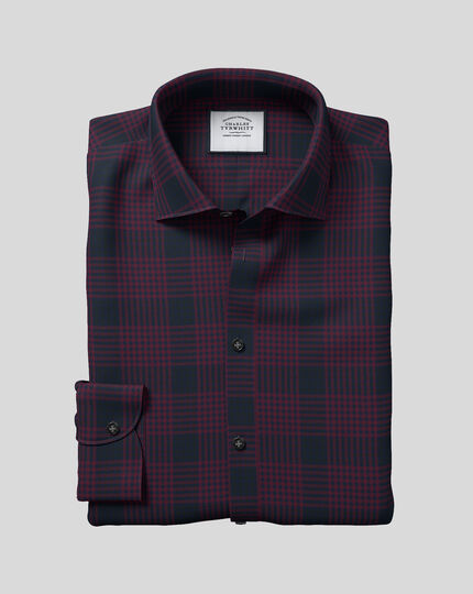 Business Casual Collar Large Check Shirt - Burgundy