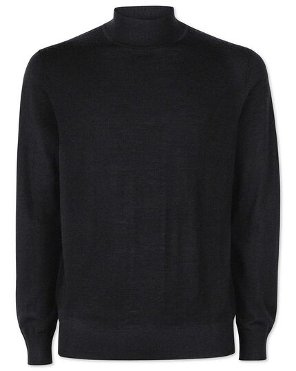 Dark charcoal merino turtle neck sweater
