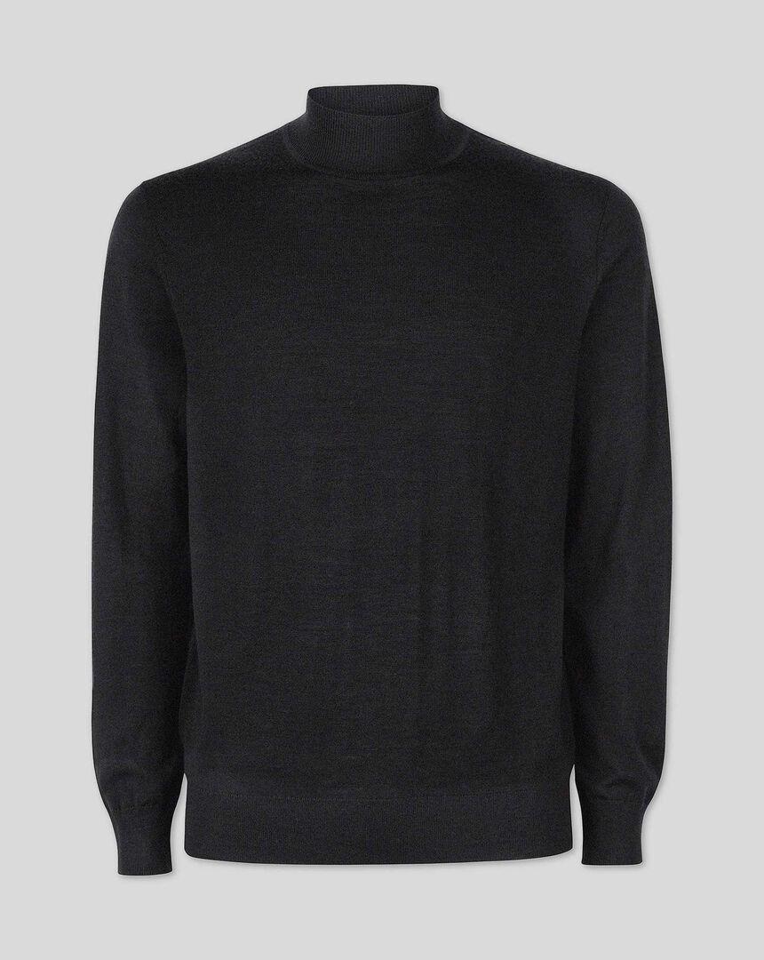 Dark charcoal merino turtle neck sweater