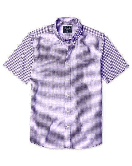 Classic fit lilac short sleeve gingham soft washed non-iron poplin plain shirt