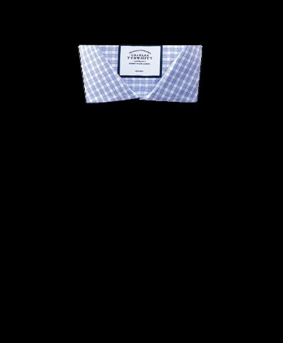 Bügelfreies Slim Fit Twill-Hemd mit Gingham-Karos in Himmelblau