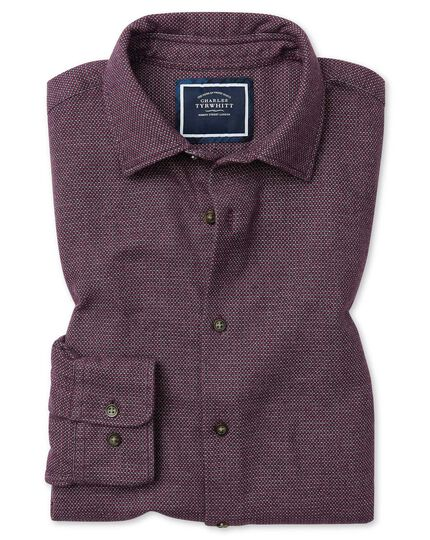 Classic fit berry semi winter flannel plain shirt