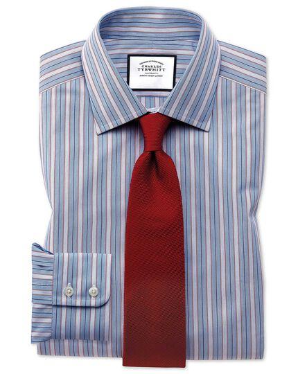 Extra Slim Fit Hemd aus ägyptischer Baumwolle mit buntem Streifenmuster in Rot