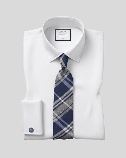 Cravate classique en fil de soie et de lin à carreaux - Bleu et bleu marine