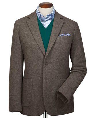 Blazer marron clair en flanelle de laine unie slim fit