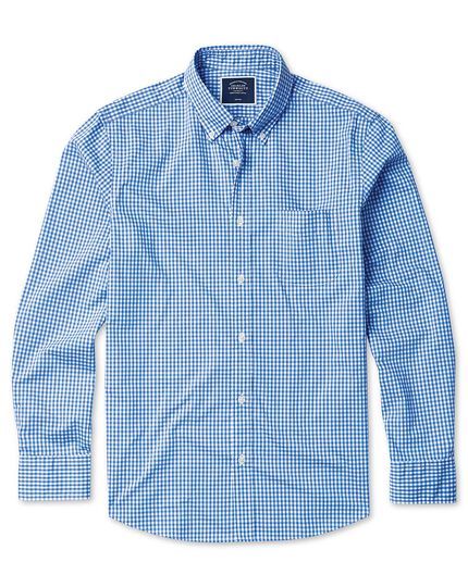 Classic fit sky blue check gingham soft washed non-iron stretch poplin shirt