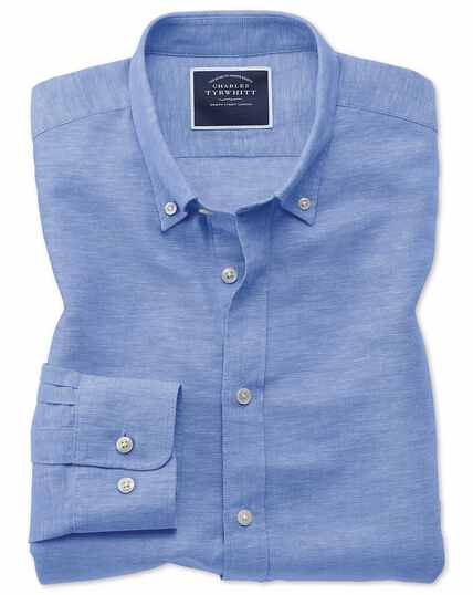 Classic fit bright blue cotton linen twill shirt