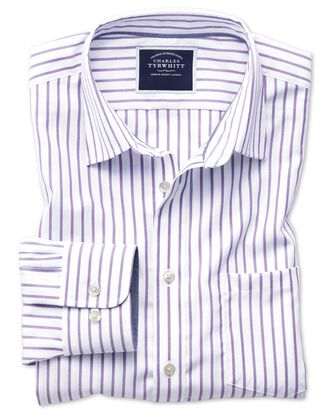 Slim fit non-iron Oxford white and lilac stripe shirt