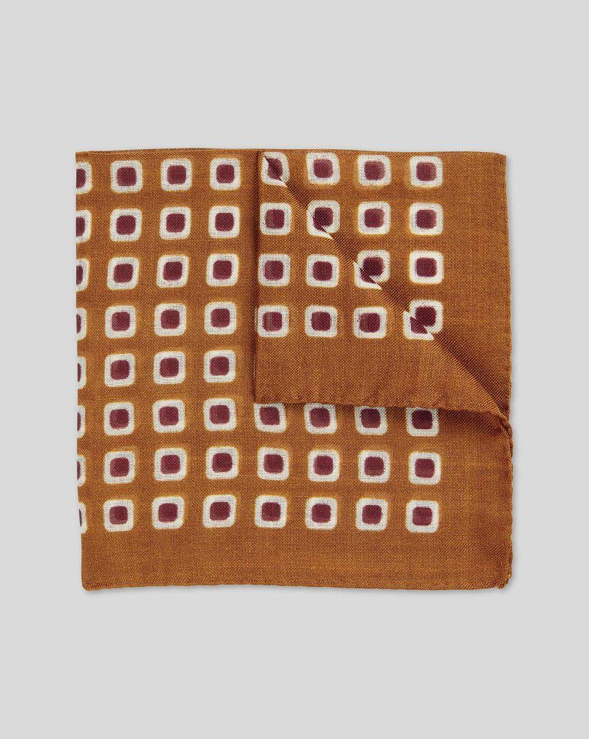 Square Design Italian Luxury Pocket Square - Orange