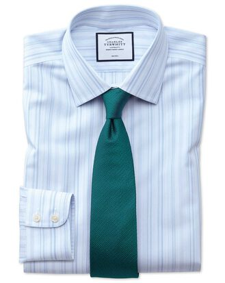 Bügelfreies Extra Slim Fit Hemd mit bunten Streifen in Blau