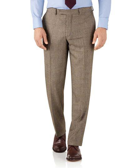 Classic Fit Serge Luxus Anzug Hose in Gelbbraun mit Karos