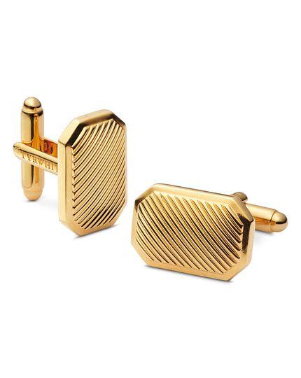 Gold textured rectangle metal cufflinks