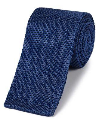 Cravate slim classique bleu roi en soie à mailles