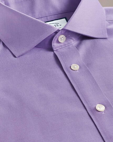 Extra slim fit lilac non-iron twill cutaway collar shirt