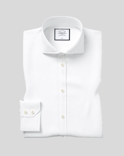 Extreme Spread Collar Non-Iron Twill Shirt - White