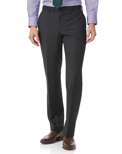 Grey check classic fit Italian suit pants