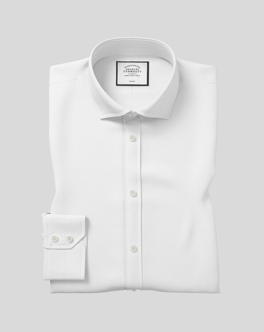 Spread Collar Non-Iron Herringbone Shirt  - White