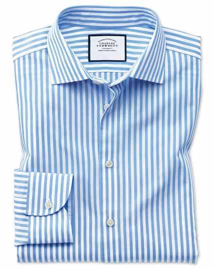 Chemise business casual bleu ciel et blanche extra slim fit à rayures et texture gaze
