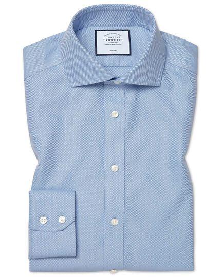 Extra slim fit cutaway non-iron Buckingham weave blue shirt