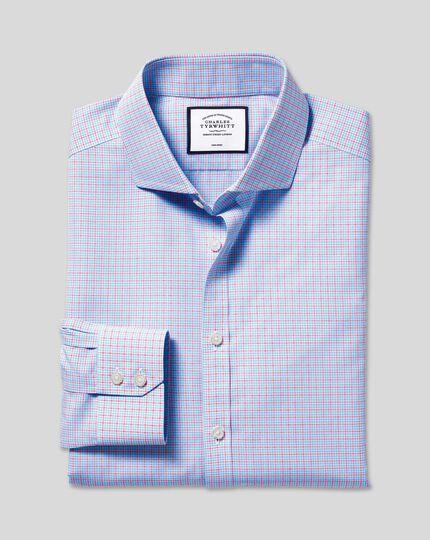 Spread Collar Non-Iron Poplin Check Shirt - Sky & Red