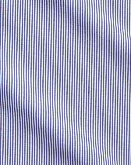 Extra slim fit non-iron spread collar navy Bengal stripe shirt