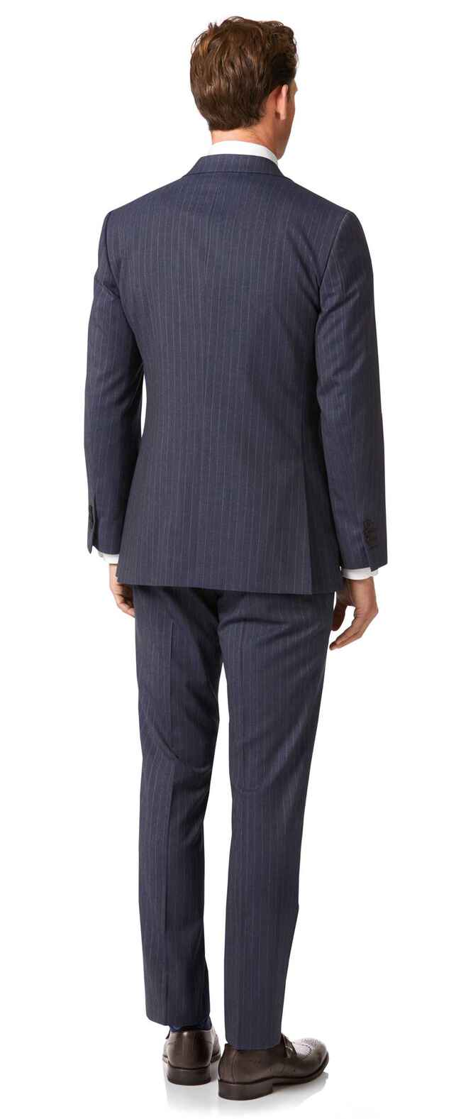 Airforce blue stripe slim fit Panama business suit