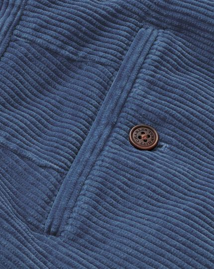 Airforce blue classic fit jumbo corduroy trousers