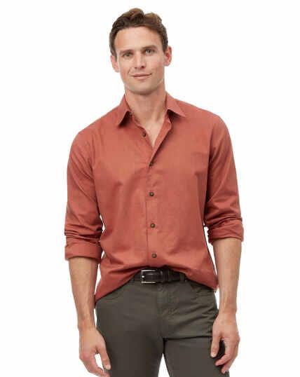 Slim fit orange seasonless textured shirt