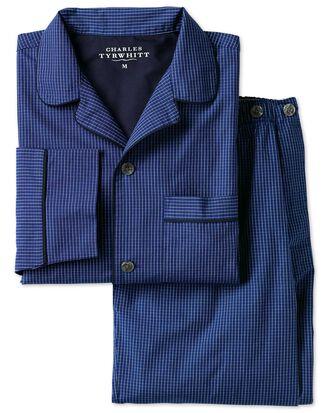 Schlafanzug mit Windowpane-Karos in Blau