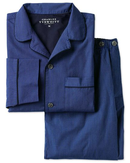 Blue windowpane check pyjama set