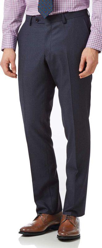 Pantalon de costume business bleu acier en flanelle slim fit