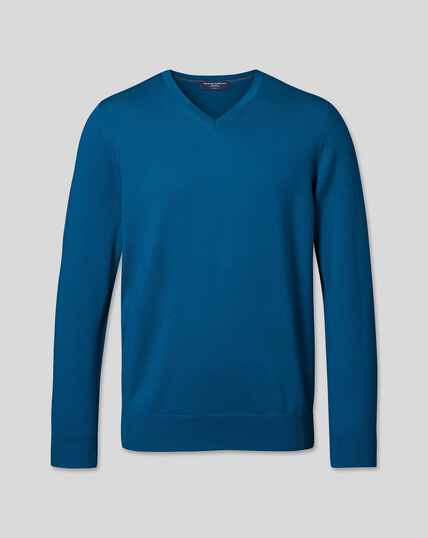 Merino V-Neck Jumper - Petrol Blue