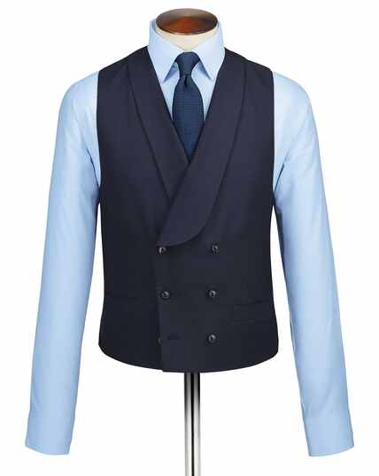 Navy adjustable fit British serge luxury suit waistcoat