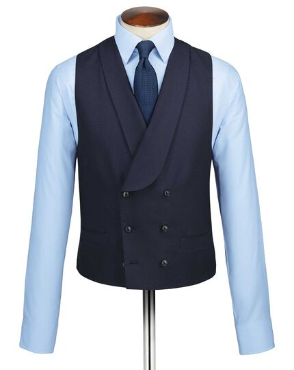 Navy adjustable fit British serge luxury suit vest