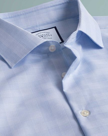 Chemise business casual bleu ciel coupe droite à carreaux sans repassage