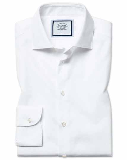 Slim fit non-iron natural stretch white shirt
