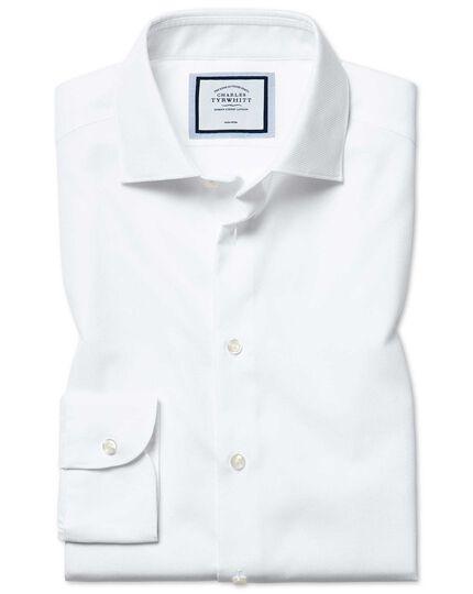 Slim fit non-iron natural stretch white shirt