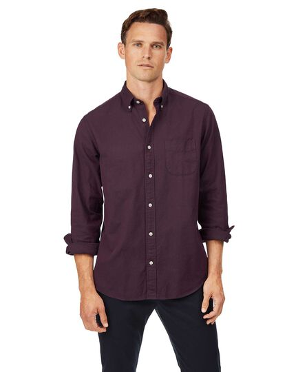 Classic fit button-down washed Oxford berry shirt