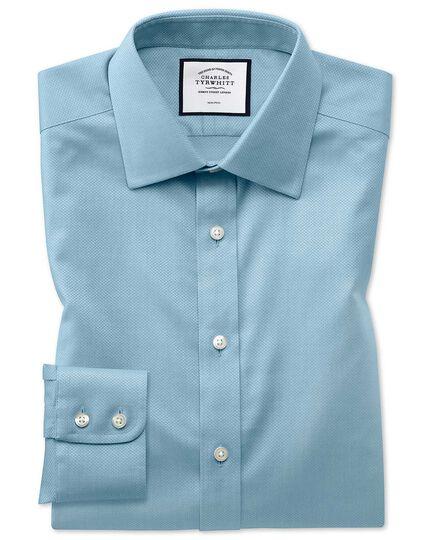 Bügelfreies Classic Fit Hemd aus Triangle Gewebe in Aquamarin