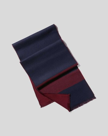 Merino Double Faced Stripe Scarf - Burgundy