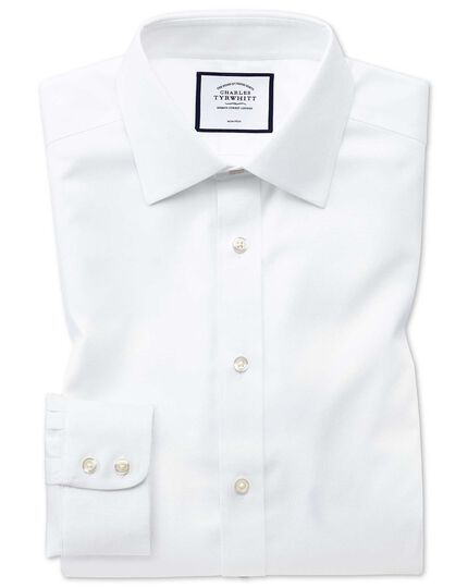 Slim fit non-iron white triangle weave shirt