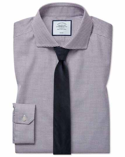 Super slim fit cutaway collar non-iron cotton stretch Oxford berry shirt