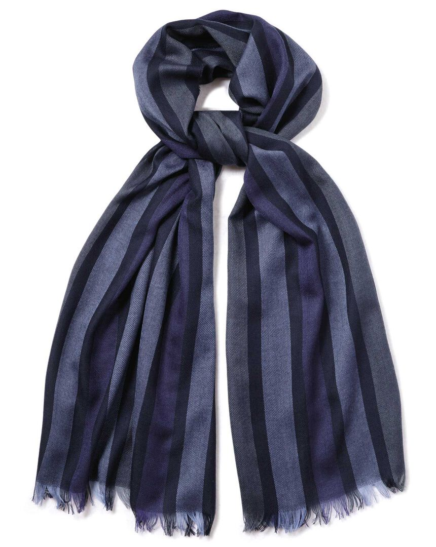 Navy multi stripe lightweight merino scarf