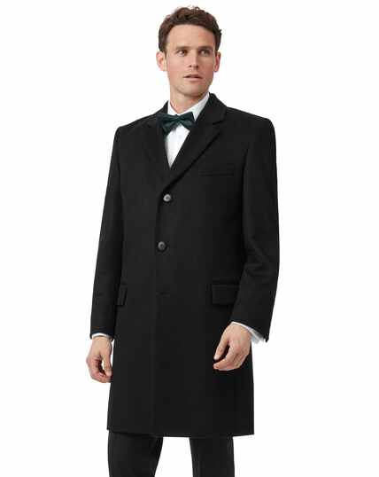 Black Italian wool and cashmere overcoat