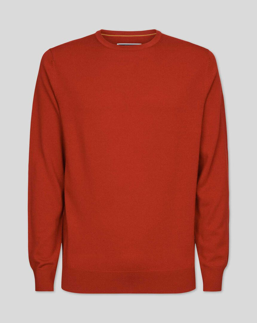 Merino Crew Neck Sweater - Orange