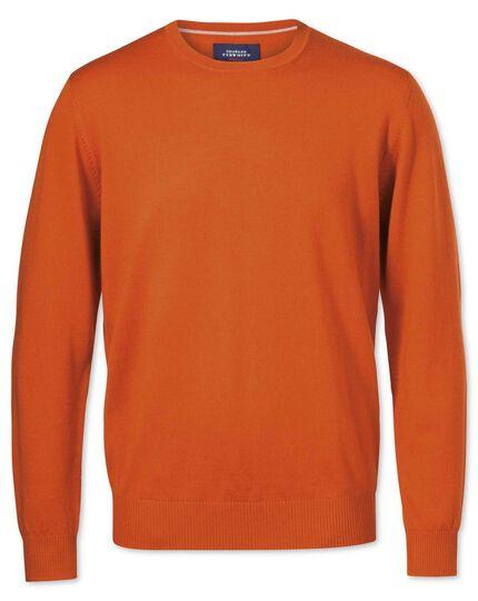 Merino Pullover mit Rundhalsausschnitt in Orange