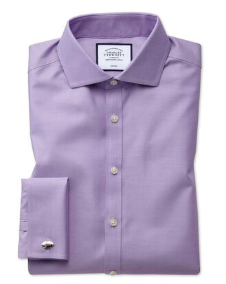 Chemise lilas en twill super slim fit sans repassage