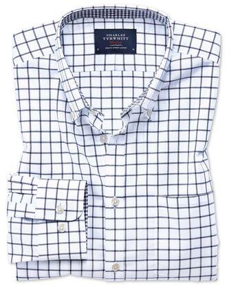 Slim fit button-down non-iron Oxford navy windowpane check shirt