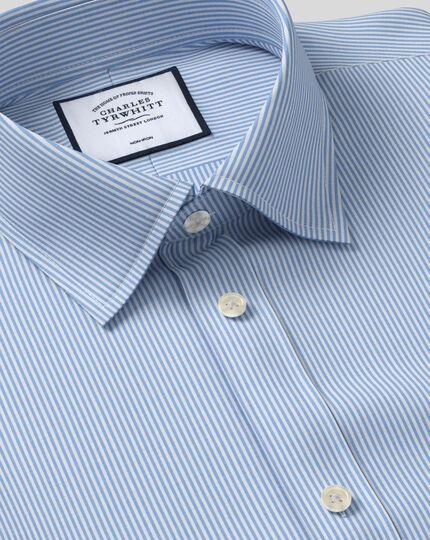 Bügelfreies Hemd mit Kent Kragen und Bengal-Streifen - Himmelblau